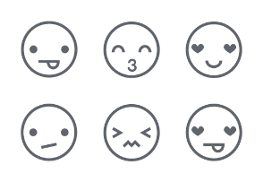 Emoticon Rounded White icons Set