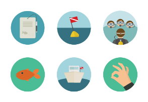 Scuba Diving Flat Icons