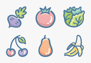 Set.02 Food Colors Doodle