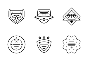 Set of badges vector line icons.