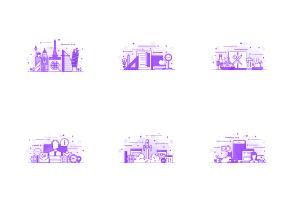 Set of Modern Flat Line Purple Color Concepts