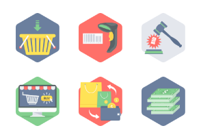 Hexagon Shopping & Commerce flat icons PART-2