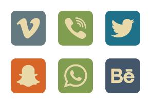 Social Icons Round Corner Vintage