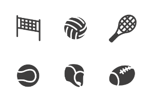 Sports with balls and accessories in glyph style