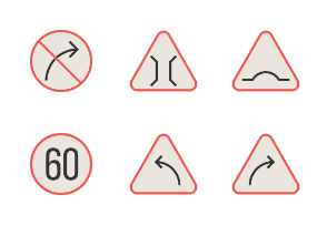 Traffic Signs Filled Line