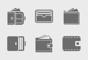 Wallets / Purses Glyph icons collection