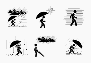 Weather Climate Condition with Stick Figure Man