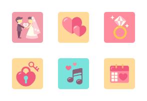 Wedding Flat Illustration Set
