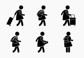 Woman Carrying Various Bag Designs
