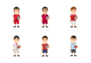 World Cup 2018 Teams - Soccer Players Colored
